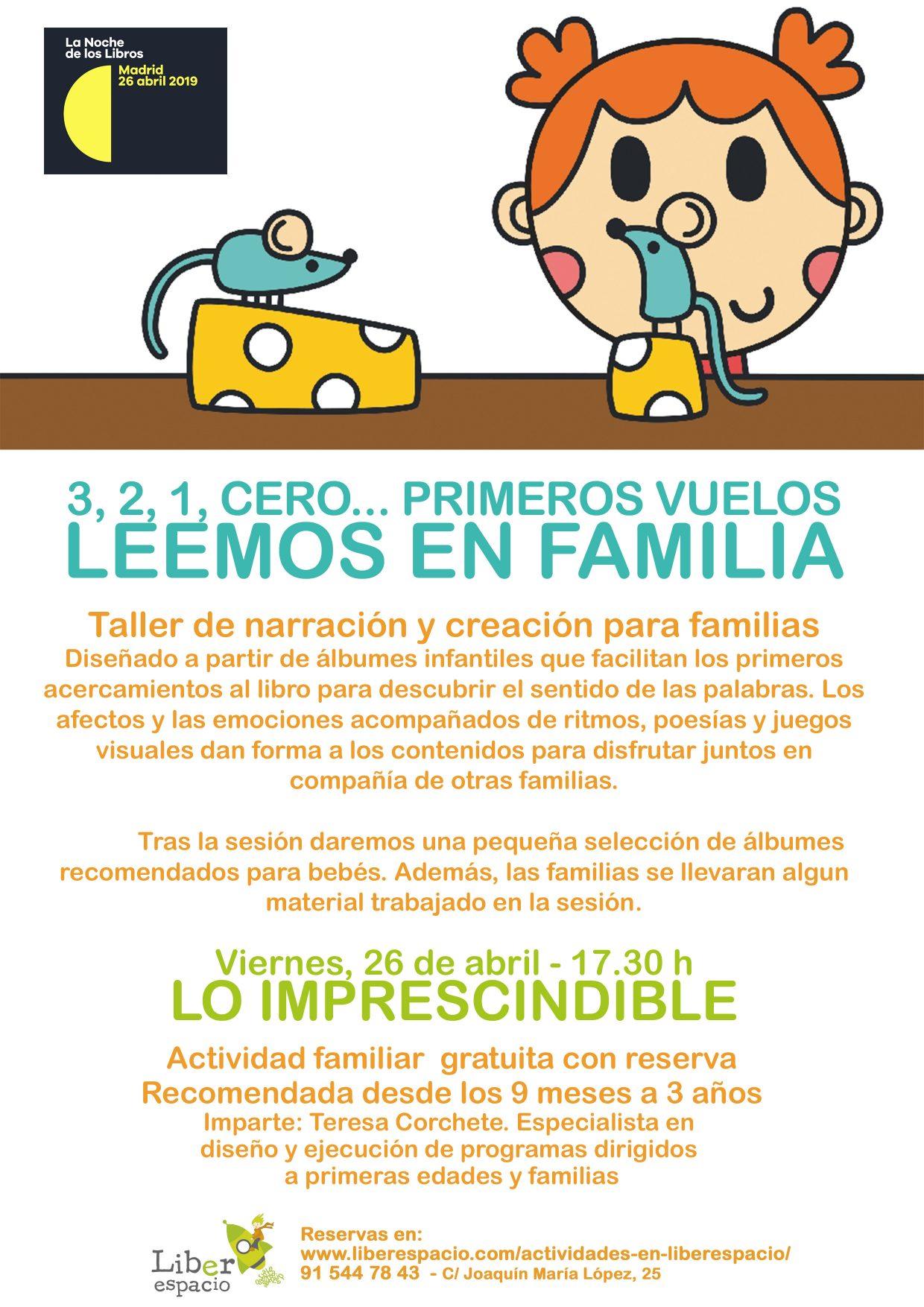 TALLER ESPECIALDE LEEMOS EN FAMILIA PARA LA NOCHE DE LOS LIBROS