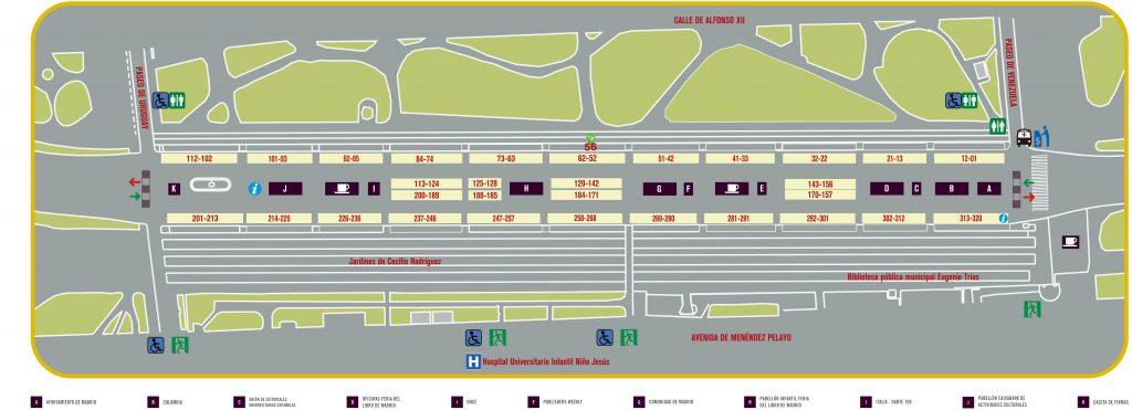 Mapa de la 80ª Feria del Libro de Madrid del 2021